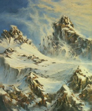 Larry Kaiser; Teton Pass, 2005, Original Painting Oil, 20 x 24 inches. Artwork description: 241  A dramatic mountain updraft sweeps snow off the mountains into a bright blue sky. ...