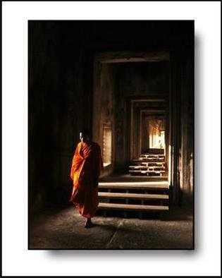 Larry Kiesel; Quiet Monk, 2005, Original Photography Color, 11 x 14 inches. Artwork description: 241 This image was made at Angkor Wat in Cambodia....