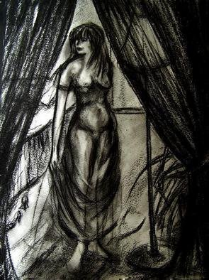 Luise Andersen, 'BARE CHAMBRE', 2006, original Drawing Charcoal, 14 x 17  inches. Artwork description: 72795 Had started this drawing for the Chambre Intime series some time ago. . Did not like it then. . . put it away. . found it today. . ( hey, that rhymes ; - ) ) . . and' fixed it. . . added more' feel' . . space. . .  etc. etc. . .  ...