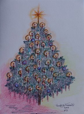 Luise Andersen, Facets  II Of Fontana Fount..., 2009, Original Drawing Other, size_width{CHRISTMAS_TREE_CARD__NO_THREE_Series-1259818989.jpg} X