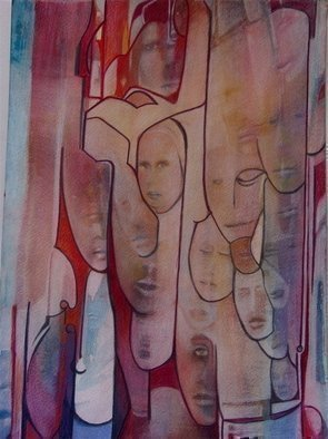 Luise Andersen, 'LES VISAGES DES VOYAGES M...', 2007, original Mixed Media, 11 x 14  inches. Artwork description: 84279 . . worked, while house- sitting and dog sitting, on this art piece, for several hours. .  before I started the
