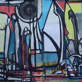 Artist: Luise Andersen title: ODYSSEE  Diptych, 2009, Original Mixed Media