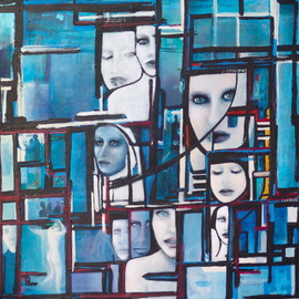 Artist: Luise Andersen title: OF SOUL update  Visages  Figures Forms Symbolism July Thirteen, 2009, Original Acrylic Painting