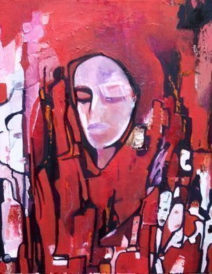 Luise Andersen, 'OUT OF ME Red Update Feb Ten', 2009, original Painting Oil,    inches. Artwork description: 104475 . layering reds, blacks real heavy in areas. . as feel demands. . bring forwards figures, visages and clear symbolic forms. . so appears stronger. . in many areas. . ...