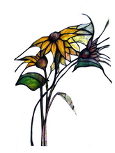 Luise Andersen SUNFLOWERS DESIGN FOR FUTURE LEAD GLASS TILES OR GLASS ON COPPER, 2007