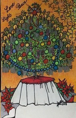 Luise Andersen, 'Artcard 2 Christmas 2018', 2018, original Drawing Other, 7.8 x 12  inches. Artwork description: 2703 Dinday, December 23,2018- turned out pretty cool.  front of this card is completed.  inside too.  now just the back. .  wish peaceful Season.  aoeOEi,lightdYOEY, lovea$?i,...