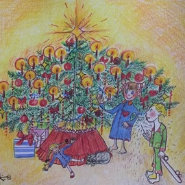 Luise Andersen, , , Original Drawing Other, size_width{artcard_christmas_2018-1545371207.jpg} X 10.5 inches