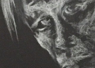 Luise Andersen; detail 1 white on black, 2018, Original Drawing Charcoal, 11 x 14 inches. Artwork description: 241 March 7,2018- happy. youngest son surprised me with a black artpaper sketchbook. to  initiate  i started this late evening. tomorrow will see. this book has 40 pages: ...
