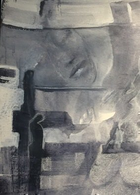 Luise Andersen; detail 2 stage 8, 2017, Original Painting Acrylic, 18 x 24 inches. Artwork description: 241 is deep payne s grey and soft white as well as med and light payne s greys. abstracted figure s forms more  definate. .  . . ...