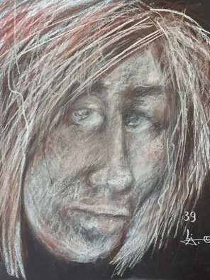 Luise Andersen; page 39 stage 7, 2018, Original Drawing Pastel, 11 x 14 inches. Artwork description: 241 July 5,2018- drawing with Koh- i- Noor Hardtmuth Gioconda sepias and white pressed chalk pastel pencil on black drawing paper sketchbook. page 39 of 40- last page, since did same no of. page in beginning twice.  an amazing book of expressions. ART. fractions of my creative ...
