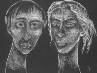 Luise Andersen; page 7, 2018, Original Drawing Charcoal, 11 x 14 inches. Artwork description: 241 Tuesday, evening, March 13,2018- . . so left 6 behind and advanced to page 7. will go back another time to page 6. these two expressions came out of theblackand think, will move on to page 8 tomorrow. it rains tonighta~