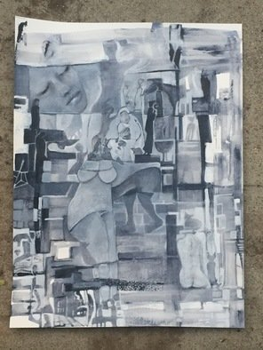 Luise Andersen; stage 14, 2017, Original Painting Acrylic, 18 x 24 inches. Artwork description: 241 Nov. 16,2017- picture of artwork in progress taken at 4p. m. in my backyard. I like the light , overcast somewhat, that shows the Payne s Gray hues real nice. . other times of day, hues often appear black, or charcoal . . which is deeper , beautiful too. .  still layer ...
