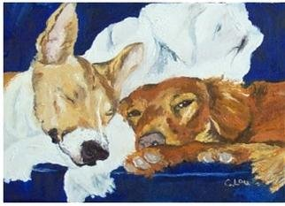 C. Lou; Haley And Max, 2000, Original Painting Oil, 7 x 5 inches. Artwork description: 241 Commissioned piece for local collector.  It helped remind me of my love for animals and all their fun personalities and traits.  ...