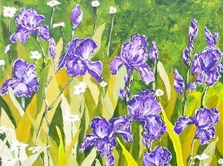 C. Lou; The Party, 2004, Original Painting Oil, 30 x 24 inches. Artwork description: 241 Irises are one of my favorite flowers.  In this painting they look like they are having fun at a big party with the daisies....