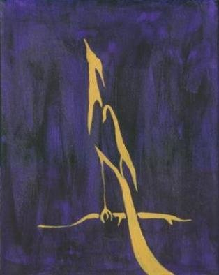 Lauren M Geraghty; Golden Crane On Purple, 2003, Original Painting Acrylic, 10 x 14 inches.