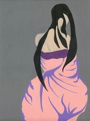 Lauren M Geraghty; Peach Kimono Lady, 2003, Original Painting Acrylic, 18 x 24 inches.