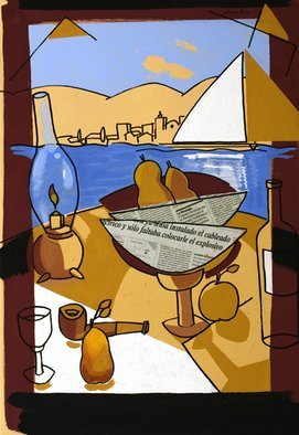 Jose Luis Lazaro Ferre; Breakfast At Sea, 2008, Original Painting Acrylic, 50 x 73 cm.