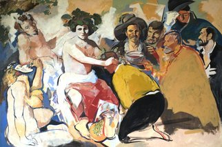 Jose Luis Lazaro Ferre; The Drunks, 1990, Original Painting Oil, 195 x 130 cm.