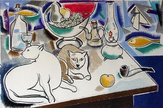 Jose Luis Lazaro Ferre, 'White Cats', 2001, original Drawing Other, 75 x 50  cm.