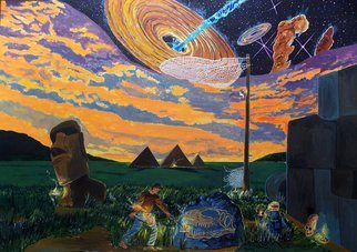 Lazaro Hurtado; A Walk In The Night Of Times, 2015, Original Painting Acrylic, 100 x 70 cm. Artwork description: 241 Illustrated thoughtsOriginal painting by Lazaro Hurtado.  Processing 3 business days.  Sent rolled in a tube with certificate of authenticityLandscape, people, conceptual, surrealism, expressionism, pyramids, egypt, travel, world...