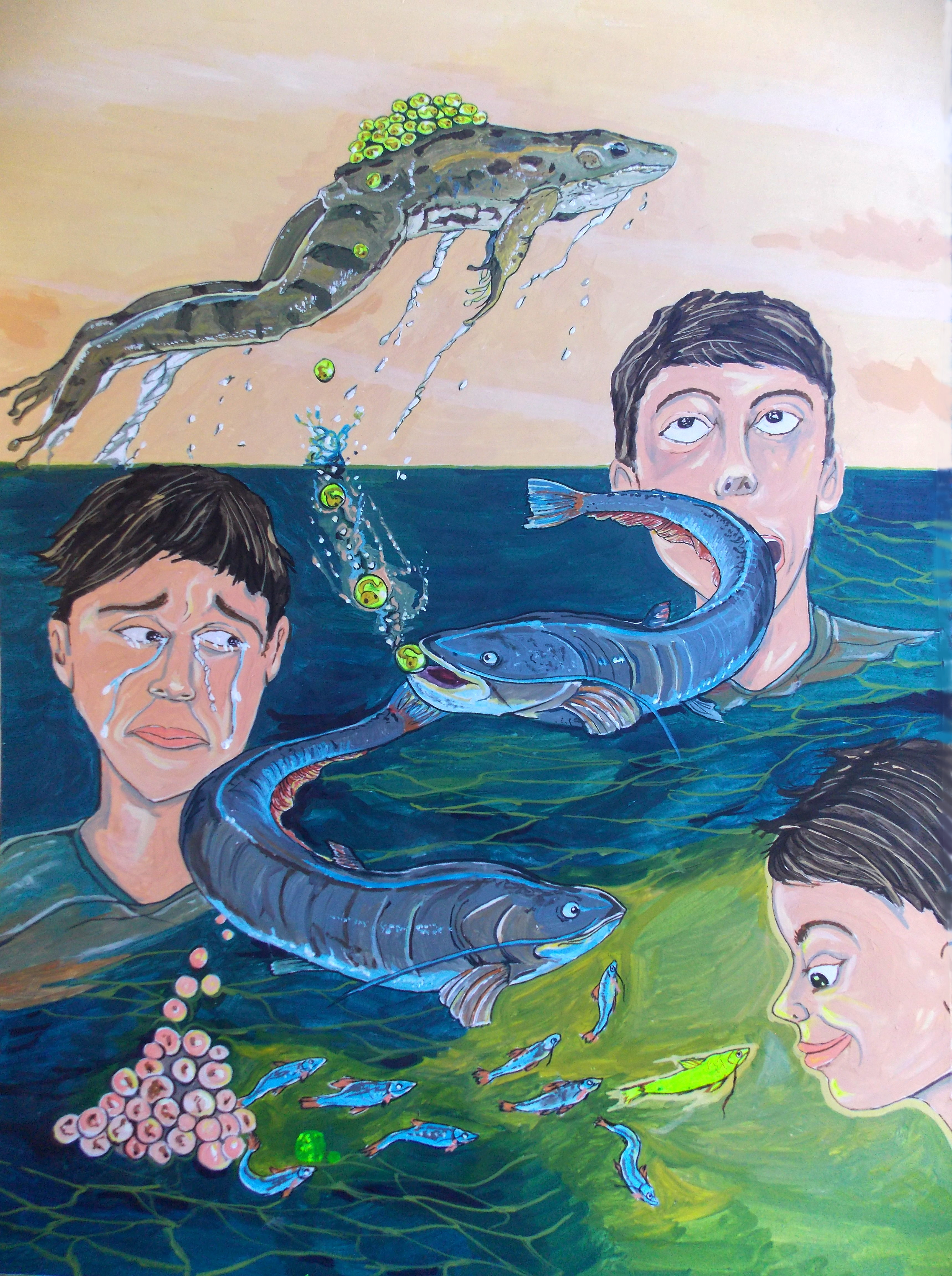 Lazaro Hurtado; EMOTIONAL Range, 2016, Original Painting Acrylic, 50 x 70 cm. Artwork description: 241 Illustrated thoughtsFrom awe to sadness and then, an unexpected outcomeAnimal, fish, Kids, conceptual, surrealism, expressionism...