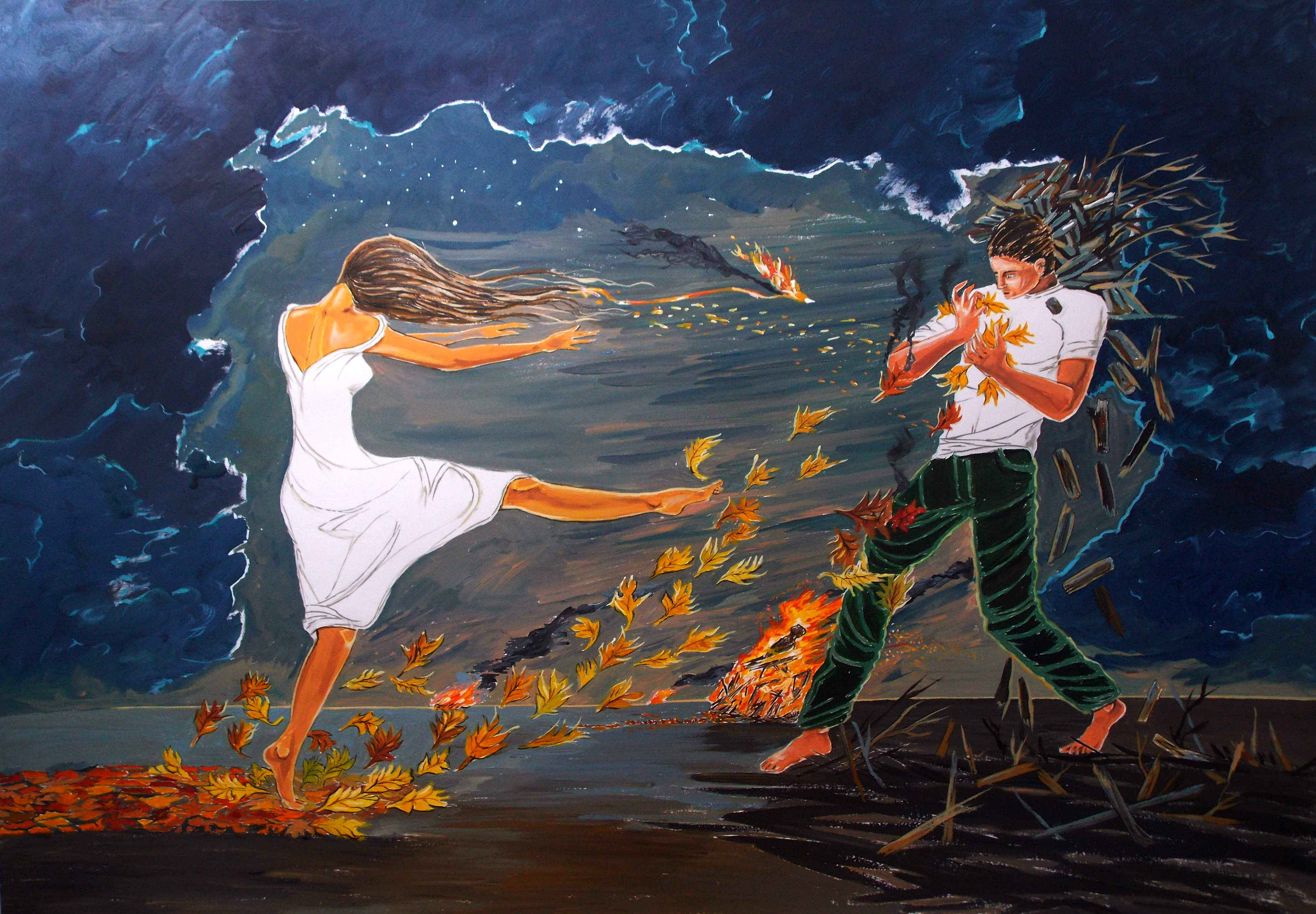 Lazaro Hurtado; Incendiary, 2016, Original Painting Acrylic, 100 x 70 cm. Artwork description: 241 Illustrated thoughtsLove, couple, woman, conceptual, expressionism, surrealism, ...