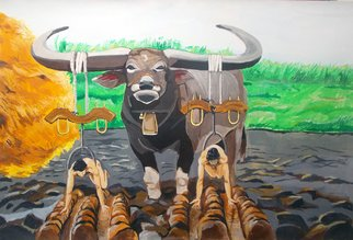 Lazaro Hurtado; Paths In The Soil, 2013, Original Painting Acrylic, 100 x 70 cm. Artwork description: 241  Illustrated thoughtsAnimal, Bull, nature, country, cows, surrealism, expressionism, people, nudes...