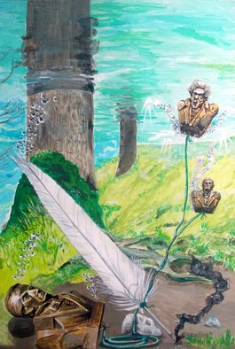 Lazaro Hurtado; The Feather And The Word, 2014, Original Painting Acrylic, 70 x 100 cm. Artwork description: 241  Illustrated thoughtsConceptual, art, painting, acrylic, Woods, trees, nature, surrealism, expressionism...