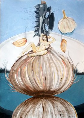 Lazaro Hurtado; The Onion Maiden And Her Hair, 2013, Original Painting Acrylic, 50 x 70 cm. Artwork description: 241 Illustrated thoughts Nudes, figurative, expressionism, conceptual, surrealism, people, woman...