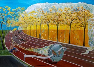 Lazaro Hurtado; The Race Of Tumbles, 2015, Original Painting Acrylic, 100 x 70 cm. Artwork description: 241  Illustrated thoughtsOriginal painting by Lazaro Hurtado.  Processing 3 business days.  Sent rolled in a tube with certificate of authenticityPeople, drinks, beber, bar, RACE, Sports, run, expressionism, conceptual, surrealism...