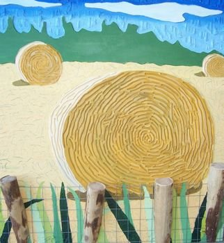 Lee Davies; Hay Bales Behind Fence Posts, 2007, Original Painting Acrylic, 40 x 38 inches. Artwork description: 241  Another Painting from the Hay Bales Series.  This piece is painted on routered and gouged plywood with fence and fence posts attached. ...