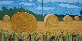 Lee Davies; Hay Bales From The Road, 2007, Original Painting Acrylic, 96 x 48 inches. Artwork description: 241  This painting is part of a series of larger scale works that focus on the rural areas in North America.  The Hay bale series of paintings are created using a router, chisel, sander to create a textured surface.  It is then primed and painted using bright and ...