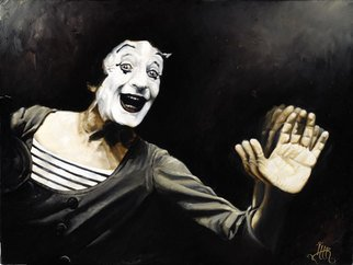 Lee Roswell; Bips Is Dead Long Live Bip, 2007, Original Painting Oil, 18 x 12 inches. Artwork description: 241  Portrait of the late great Marcel Marceau, painted after hearing of his death. ...