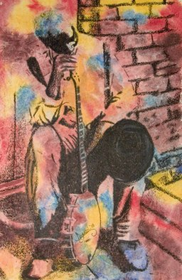 Legassi Brumbaugh; Old Man With Banjo, 2008, Original Watercolor, 15 x 22 inches.