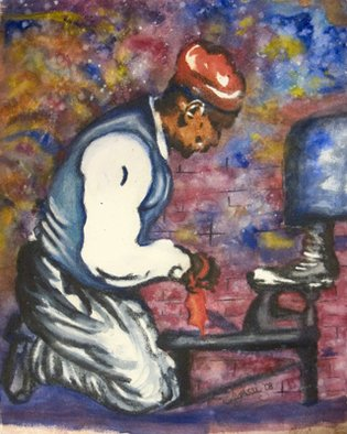 Legassi Brumbaugh; Shoeshine Man, 2008, Original Watercolor, 22 x 30 inches.