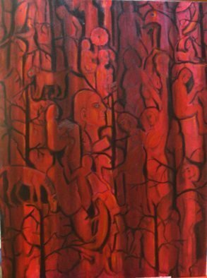 Rita Levinsohn, 'Beneath The Surface Of Night', 2006, original Painting Acrylic, 30 x 40  x 2 inches. Artwork description: 1911 Images of different life forms that may exist in other dimensions. ...