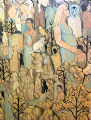 Rita Levinsohn, 'Beneath The Surface Of Noon', 2006, original Painting Acrylic, 30 x 40  x 2 inches. Artwork description: 1911 Images of different life forms that may exist in other dimensions. ...