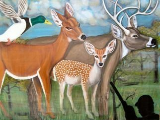 Rita Levinsohn; Killing Field, 2007, Original Painting Acrylic, 40 x 30 inches. Artwork description: 241  Painting depicts a peaceful family of deer wandering in a forest unaware of a hunter.  ...