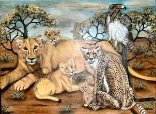 Rita Levinsohn; Last Look, 2008, Original Painting Acrylic, 40 x 30 inches. Artwork description: 241  Lion, Cheetah, Martial Eagle, all endangered species. ...