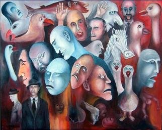 Leif M�rdh; It Is A Weird World, 2008, Original Painting Oil, 93 x 72 cm. Artwork description: 241  Where ever I go I see those strange creatures among people. Even if they look normal in other peoples eyes. ...
