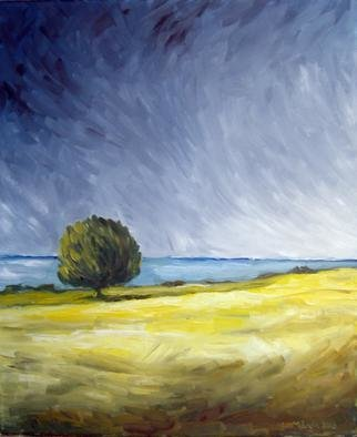 Leif M�rdh; Lonely Tree On A Windy Day, 2010, Original Painting Oil, 50 x 60 cm. Artwork description: 241  Oil on canvas ...