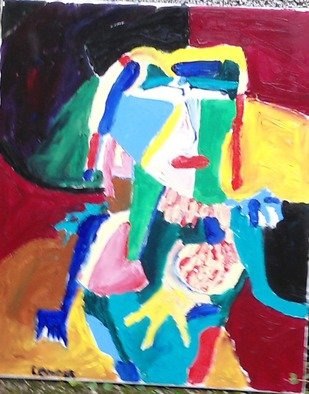 Jean Yves Lemeur; Grenn Woman, 2014, Original Painting Oil, 50 x 70 cm. Artwork description: 241    art brut abstract portrait  ...
