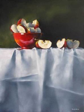 Daniele Lemieux; Apple Wedges, 2007, Original Painting Oil, 24 x 18 inches. Artwork description: 241 Unusually beautiful painting of apple pieces and a red jug on a fine tablecloth  is attractively framed in a 2- inch black wood floating frame, which will look great in any setting. ...