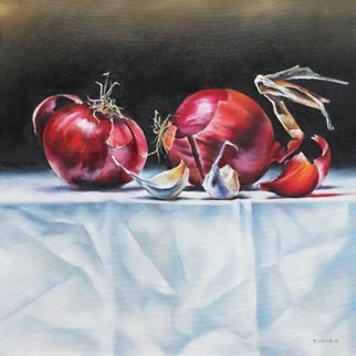 Daniele Lemieux; Big Reds, 2013, Original Painting Oil, 24 x 24 inches. Artwork description: 241 This unusual and dynamic painting of red onions makes a big statement and is attractively framed in a 2- inch black wood floating frame, which will look great in any setting. ...
