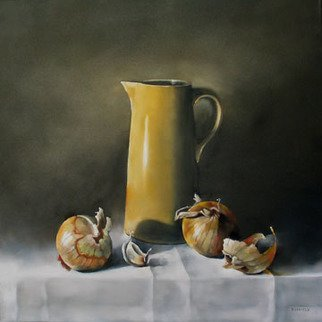 Daniele Lemieux; Deux Oignons Espagnols, 2008, Original Painting Oil, 24 x 24 inches. Artwork description: 241 This lovely oil painting of Spanish onions is attractively framed in a 2 black wood floating frame, which will look great in any setting. ...