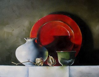 Daniele Lemieux; Polish, 2008, Original Painting Oil, 28 x 22 inches. Artwork description: 241 This dramatic painting of a vase and jug overlooked by a red plate  is attractively framed in a 2- inch black wood floating frame, which will look great in any setting. ...