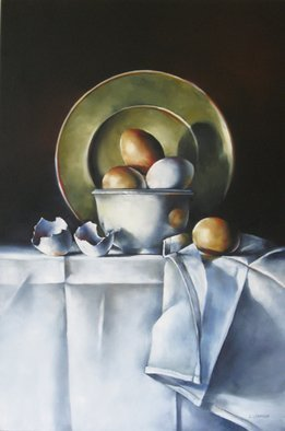 Daniele Lemieux; Simply Eggs, 2012, Original Painting Oil, 20 x 30 inches. Artwork description: 241 This engaging painting of eggs with a fine tablecloth is attractively framed in a 2- inch black wood floating frame, which will look great in any setting. ...