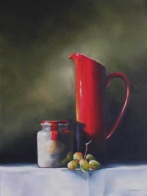 Daniele Lemieux; Still Life In Red And Green, 2007, Original Painting Oil, 24 x 18 inches. Artwork description: 241 This winsome painting has a lot of personality for a simple subject and is attractively framed in a 2- inch black wood floating frame, which will look great in any setting. ...