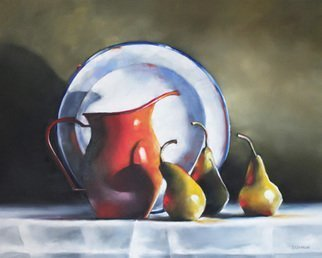 Daniele Lemieux; Still Life With Ladybug, 2014, Original Painting Oil, 30 x 24 inches. Artwork description: 241 This stunning still life with a red jug, pears and an enamelware plate  is attractively framed in a 2- inch black wood floating frame, which will look great in any setting. ...