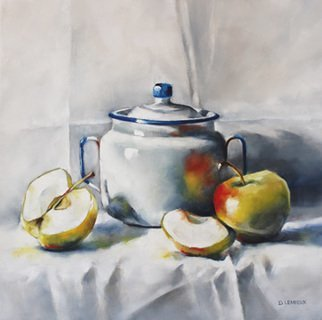 Daniele Lemieux; White Light, 2015, Original Painting Oil, 16 x 16 inches. Artwork description: 241 This delightful painting of apples and an enamelware canister is attractively framed in a 2 inch black wood floating frame, which will look great in any setting. ...